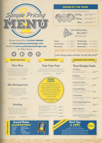 multipurpose business landscape price list or menu template