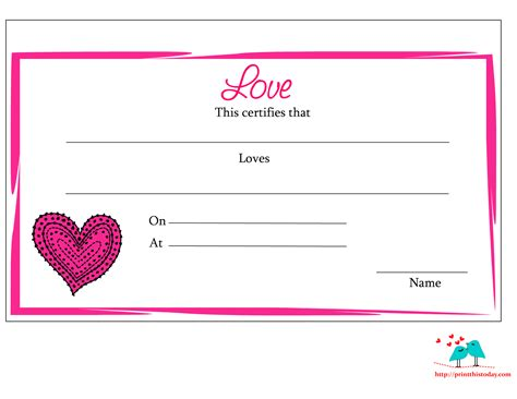 printable free awards free printable love certificates