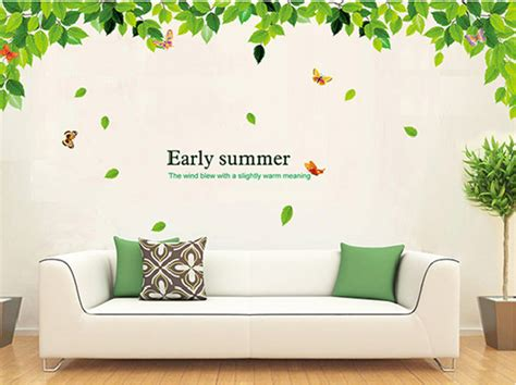 green wall stickers butterfly leaves foliage wall sticker decal green leaf vinyl stickers bedroom large poster