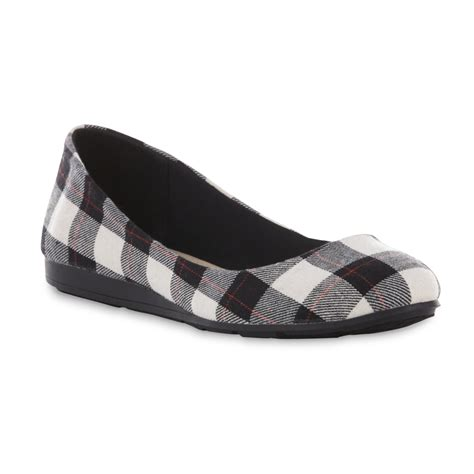 Plaid Flats basic editions s black white plaid ballet