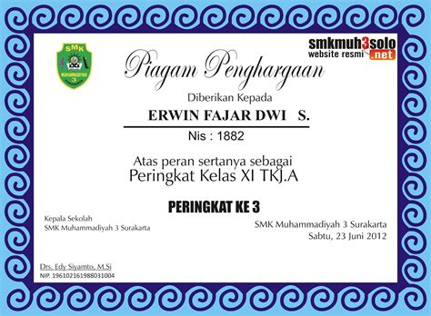 layout sertifikat penghargaan piagam penghargaan kepada peserta didik yang berprestasi