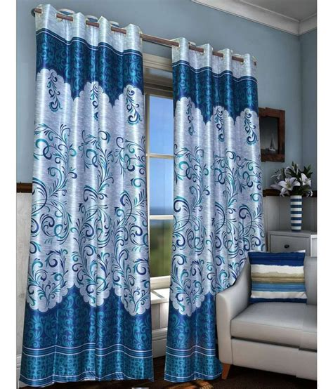 long blue curtains fabbig blue printed polyester long door curtain set of 2