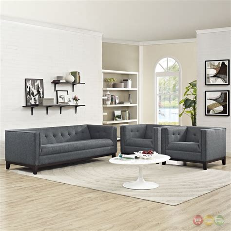 Mid Century Living Room Set Serve Modern 3 Pc Upholstered Sofa Armchairs Living Room Set Gray
