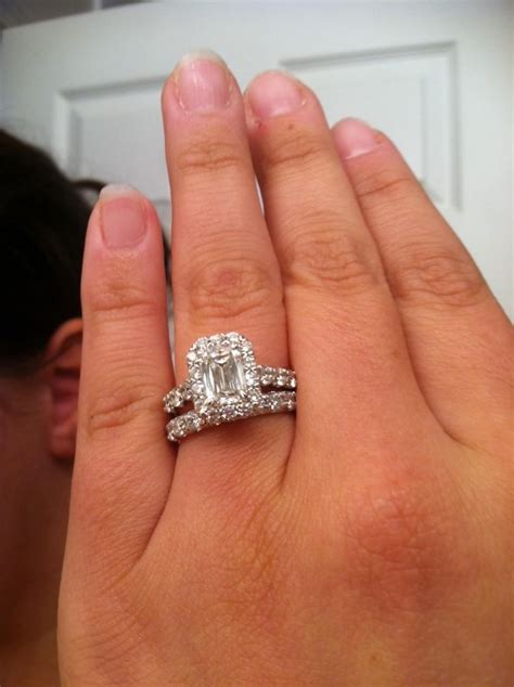 Wedding Ring On Finger by Wedding Rings On Finger Emerald Cut