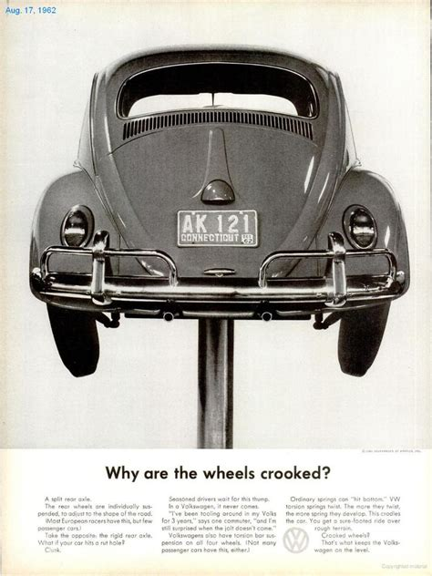 volkswagen ads why are the wheels crooked classic volkswagen ad das