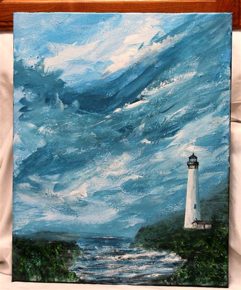 acrylic paint for wall lighthouse acrylic painting on 16 x 20 stretched canvas
