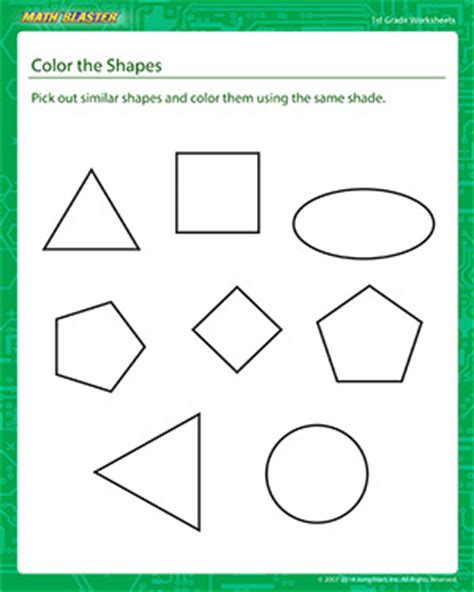printable shapes for first grade color the shapes 1st grade math printables math blaster