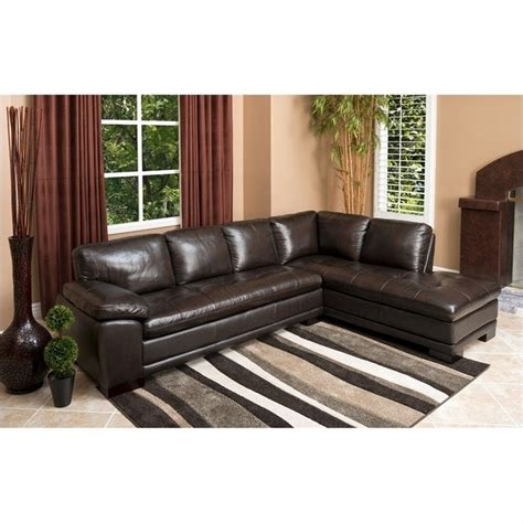 abbyson leather sectional abbyson living tekana 2 piece leather sectional in dark