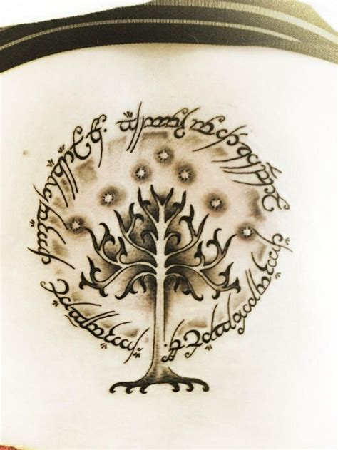 white tree of gondor tattoo lord of the rings inscription on the outside of