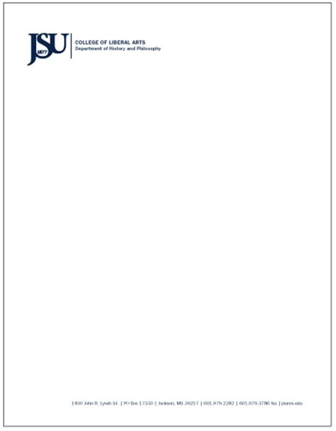 Official Apple Letterhead Jackson State Style Guide Jsu Letterhead With Abbreviated Signature