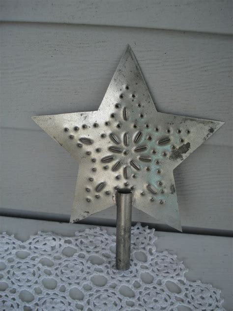 vintage punched tin tree topper country christmas star