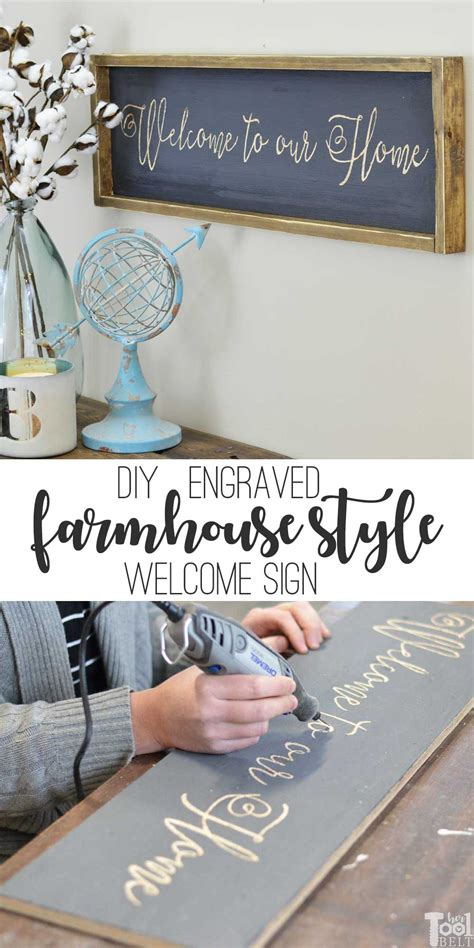 diy engraved farmhouse style    home sign