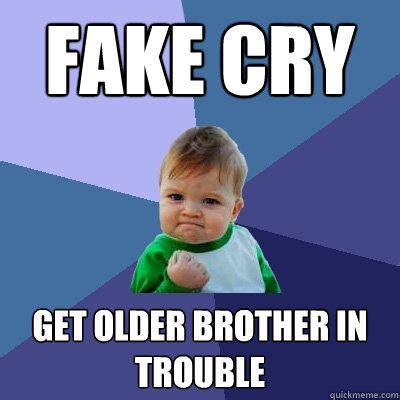 Brother Sister Memes - fake cry get older brother in trouble success kid
