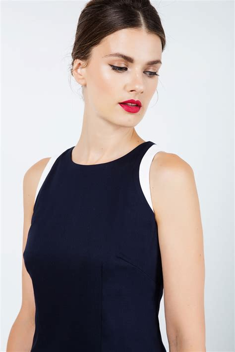 Dress With Contrast Detail navy blue sleeveless dress with contrast detail