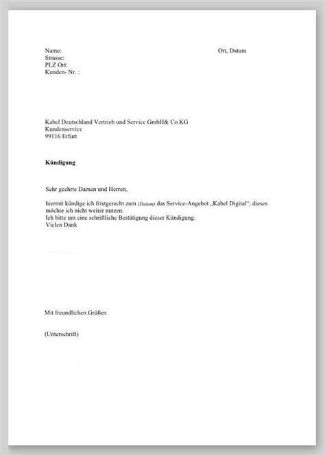 Vorlage K Ndigung Mietvertrag Fristgerecht kabel deutschland k 252 ndigung vorlage k 252 ndigung vorlage fwptc