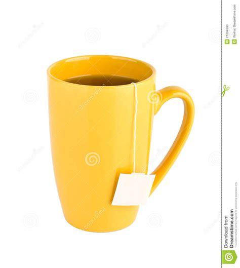 Yellow Mug Of Tea Isolated On White Background Stock Photo   Image: 21094300