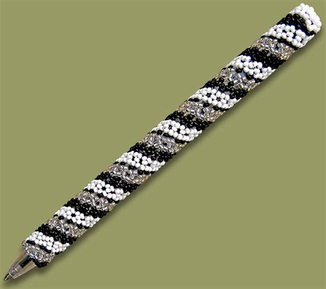 bead pen beaded pen spiral white black silver