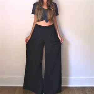 items similar to black palazzo pants flowy wide leg