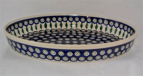 peacock feather oval art glass dish pottery oval casserole baker peacock european splendor 174