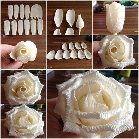 Make Crepe Paper Roses - how to make easy corrugated paper step by step diy