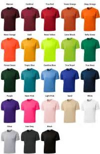 tshirt colors color codes dj s sports memorabilia printing