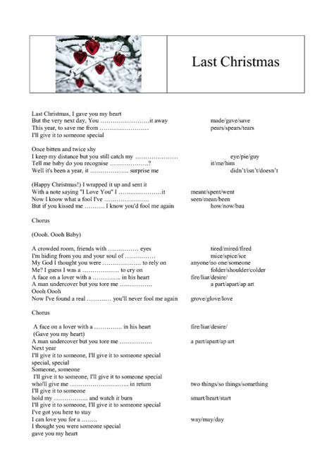 printable lyrics last christmas wham song worksheet last christmas by wham