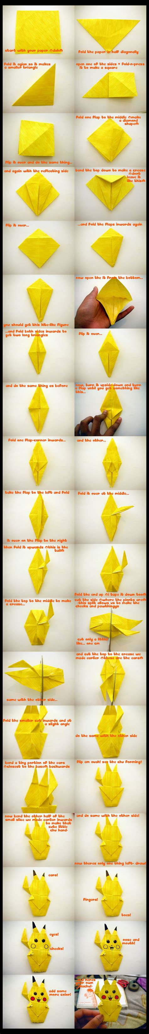 How To Make A Paper Pikachu - how to make an origami pikachu visual ly