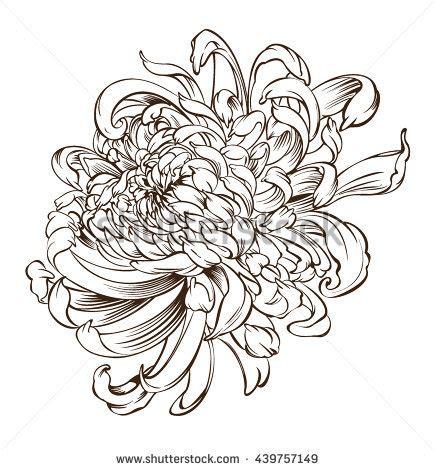 japanese flower tattoo chrysanthemum flower blossoms stock