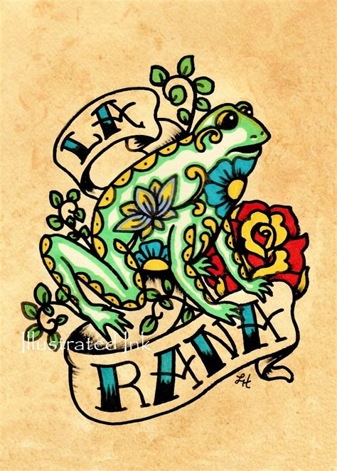 mexican art tattoos mexican folk frog la rana loteria print 5 x 7 8 x 10 or