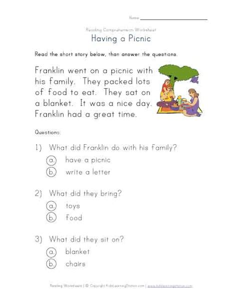 1st Grade Comprehension Worksheets by Beginner Reading Comprehension Worksheet A Picnic