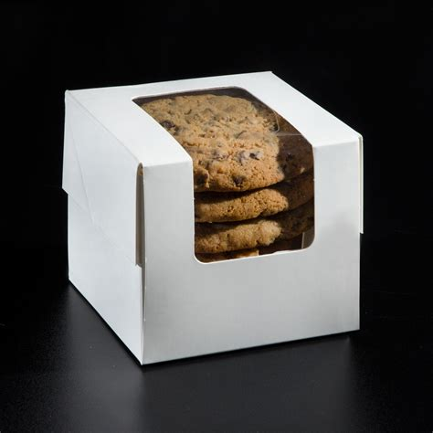 cookie box with window 4 x 4 x 4 25 single cupcake cookie box with window