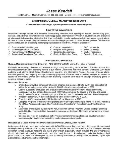 marketing executive cv sles exceptional global marketing executive resume sles recentresumes