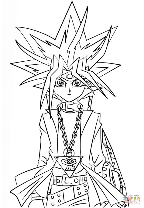 coloring book yugioh yugi muto from yu gi oh coloring page free printable