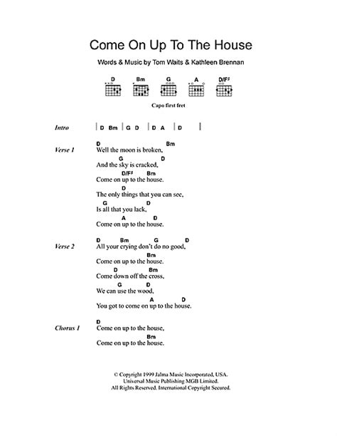 come on up to the house lyrics come on up to the house sheet music by tom waits lyrics chords 101380