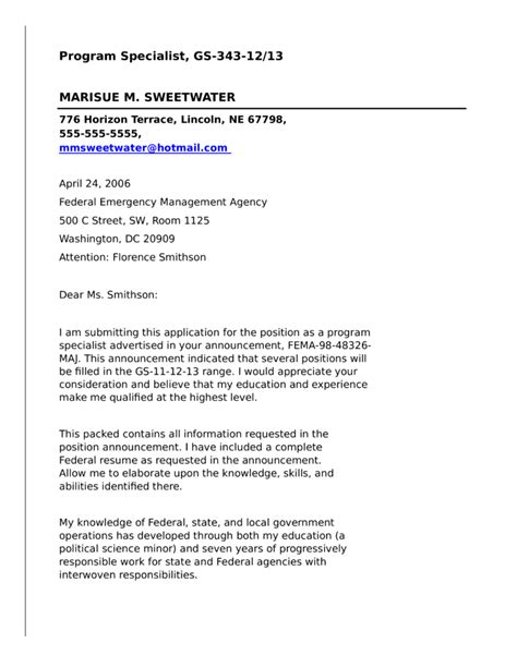 federal government cover letter program specialist for federal government cover letter