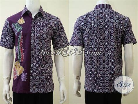 Hem Batik Tulis Asli Motif Kalimantan Ungu Kemeja Etnik F60217015 hem batik anak muda masa kini dengan tilan dua motif