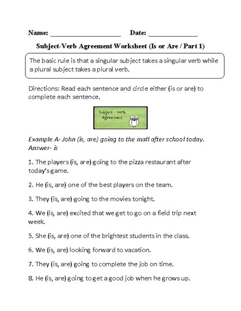 Subject Verb Agreement Printable Worksheets by Subject Verb Agreement Worksheets Is Or Are Subject Verb