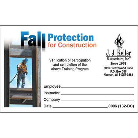 fall protection card template fall protection certification template best and