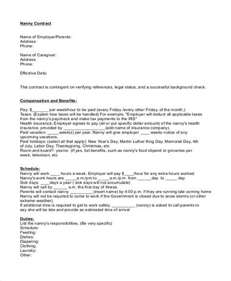 sle nanny contract form 9 free documents in pdf doc