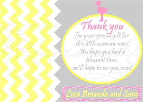 Thank You Card Template Baby Shower Tags by Baby Shower Thank You Card Favor Tag Baby Shower