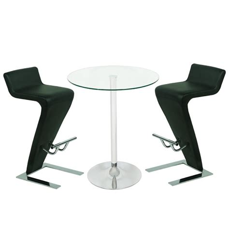 Glass Bar Table And Stools Roma Glass Bar Table In Clear With 2 Farello Black Bar