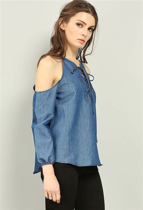 Lace Up Denim Blouse open shoulder lace up denim blouse shop tops at papaya