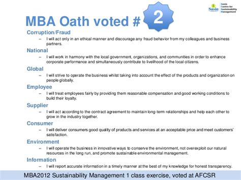 The Mba Oath by Scsm 2012 Year End Newsletter
