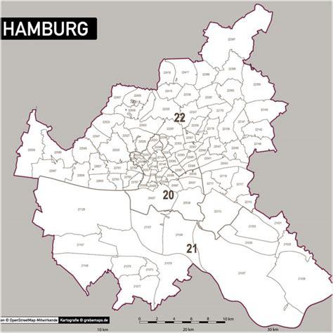 Hamburg Karte by Hamburg Postleitzahlen Karte Plz 5 Vektorkarte Grebemaps