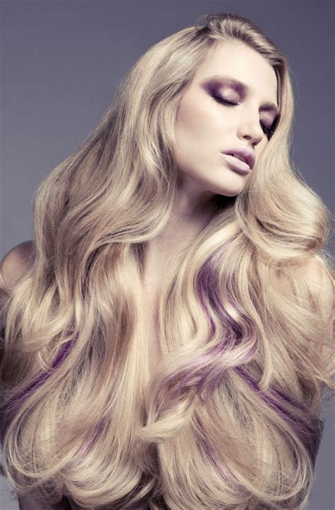 Blonde Hairstyles With Purple Streaks | purple to blonde colormelt short hair colors ideas