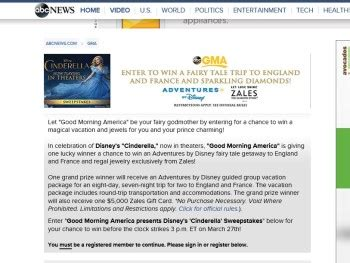 Good Morning America Sweepstakes - good morning america presents the disney s cinderella sweepstakes