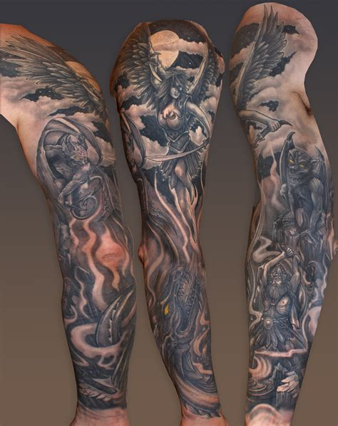heaven and hell tattoos sleeves on hells sleeve tattoos