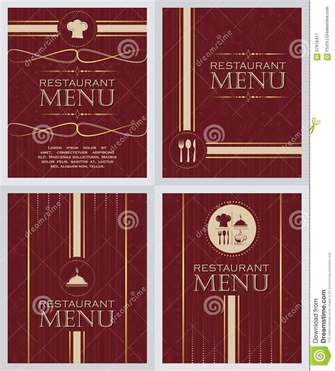menu cover template set of restaurant menu design cover template in retro