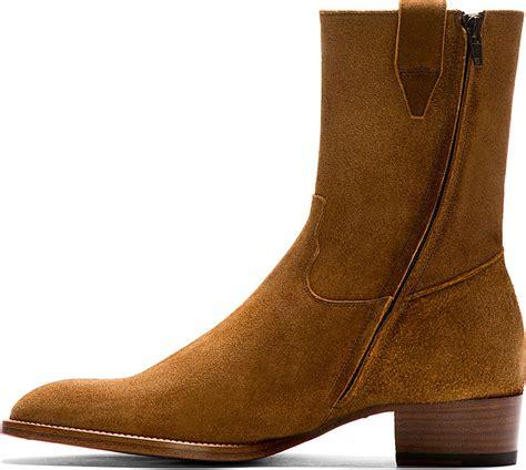 laurent brown suede wyatt cowboy boots in brown for