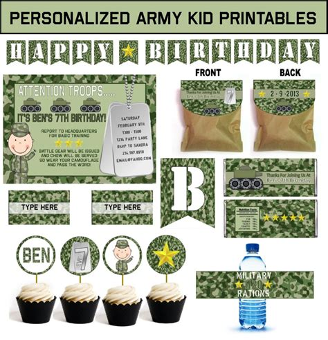 free printable army party decorations kids army party theme birthday games ideas and